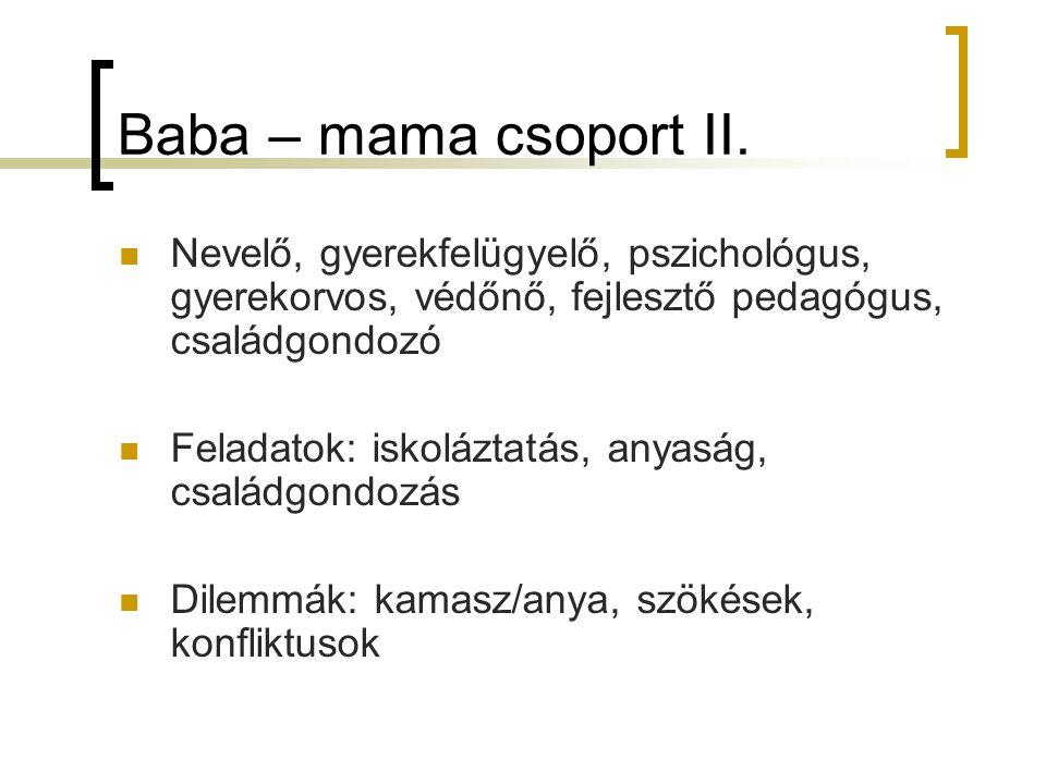 Baba – mama csoport II. Nevelő, gyerekfelügyelő, pszichológus, gyerekorvos, védőnő, fejlesztő pedagógus, családgondozó Feladatok: iskoláztatás, anyasá