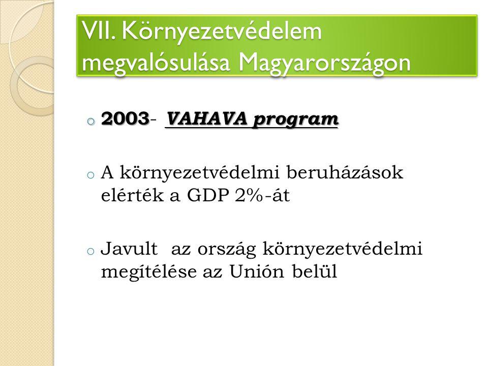 VII. Környezetvédelem megvalósulása Magyarországon o 2003 VAHAVA program o 2003 - VAHAVA program o A környezetvédelmi beruházások elérték a GDP 2%-át