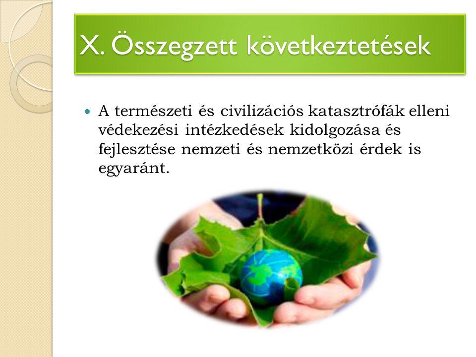 X. Összegzett következtetések A természeti és civilizációs katasztrófák elleni védekezési intézkedések kidolgozása és fejlesztése nemzeti és nemzetköz