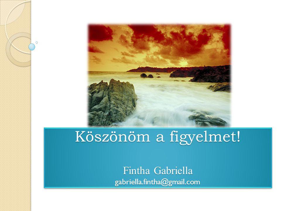 Köszönöm a figyelmet! Fintha Gabriella gabriella.fintha@gmail.com