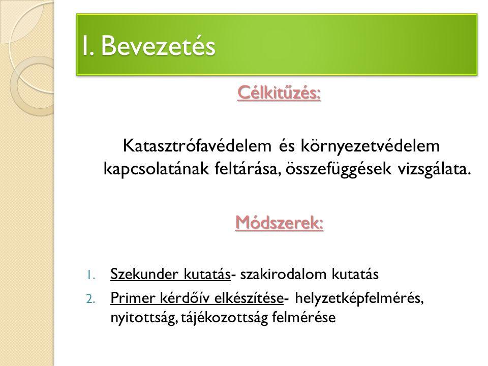 I. Bevezetés Célkitűzés: Katasztrófavédelem és környezetvédelem kapcsolatának feltárása, összefüggések vizsgálata.Módszerek: 1. Szekunder kutatás- sza