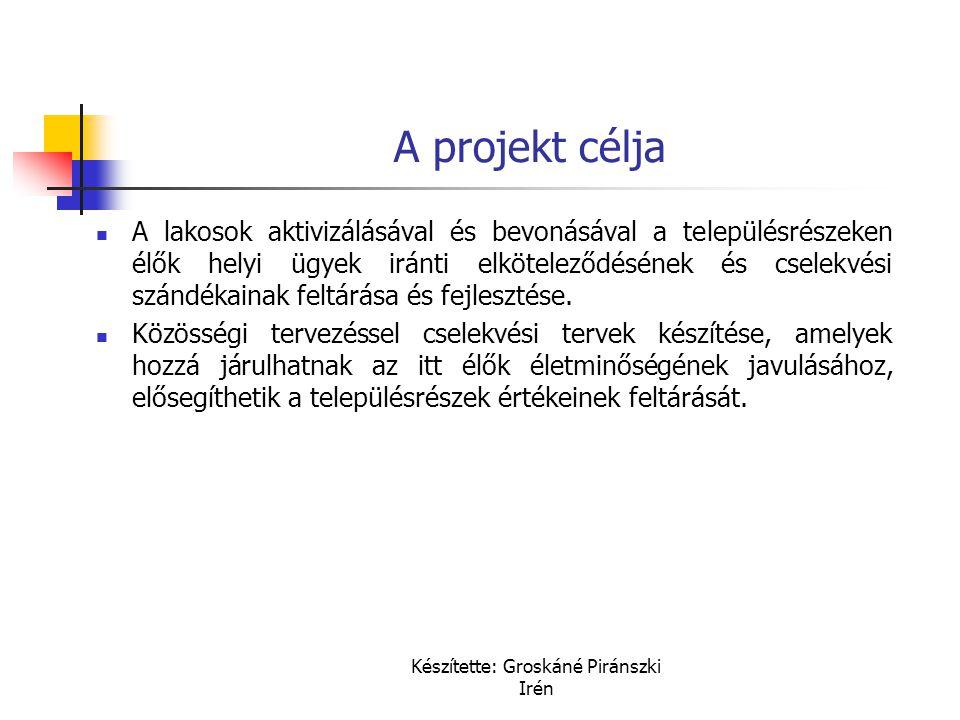 Készítette: Groskáné Piránszki Irén A projekt célja A lakosok aktivizálásával és bevonásával a településrészeken élők helyi ügyek iránti elköteleződés