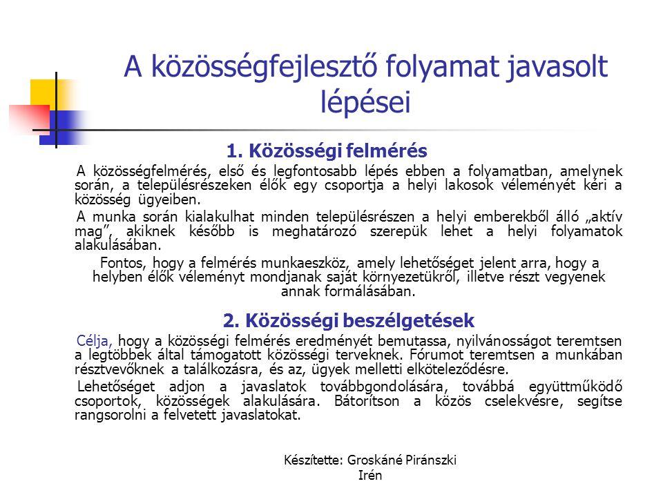 Készítette: Groskáné Piránszki Irén A közösségfejlesztő folyamat javasolt lépései 1. Közösségi felmérés A közösségfelmérés, első és legfontosabb lépés