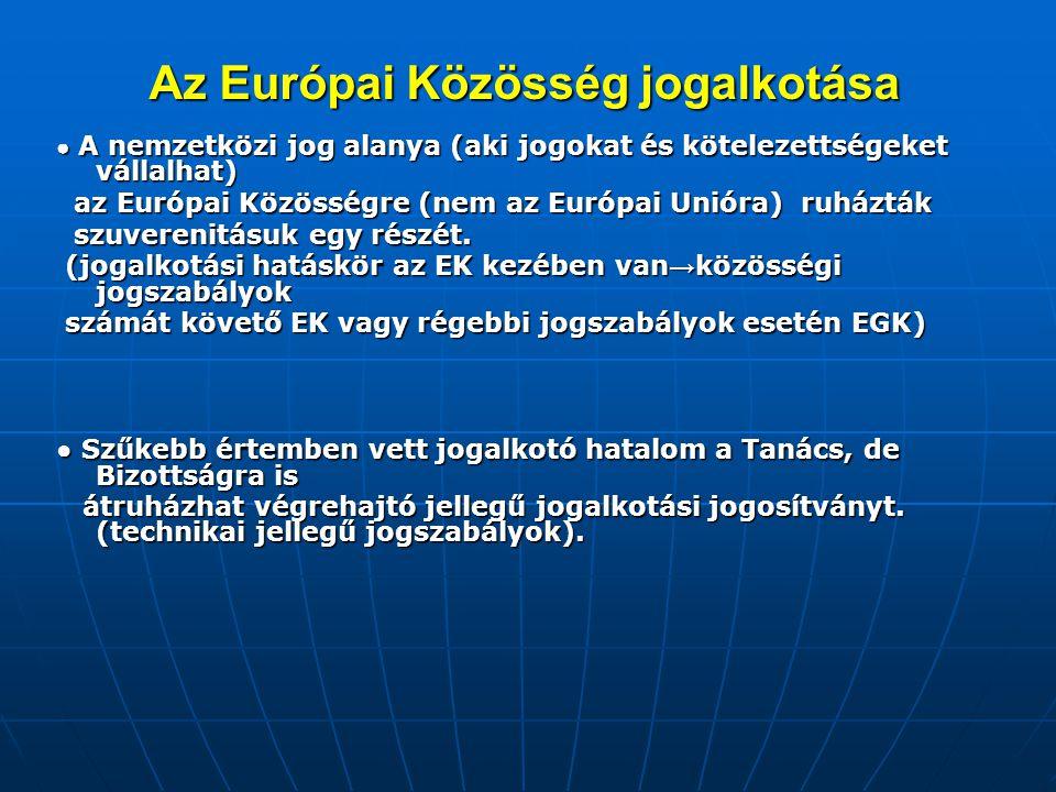 Az Európai Közösség jogalkotása ● A nemzetközi jog alanya (aki jogokat és kötelezettségeket vállalhat) az Európai Közösségre (nem az Európai Unióra) r