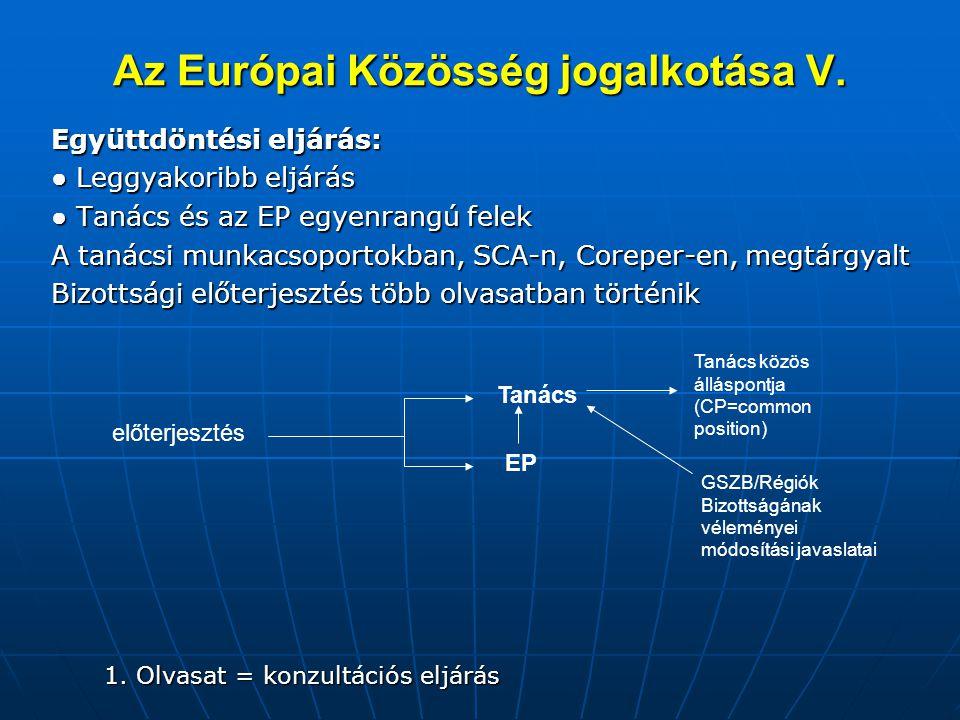 Az Európai Közösség jogalkotása V. Együttdöntési eljárás: ● Leggyakoribb eljárás ● Tanács és az EP egyenrangú felek A tanácsi munkacsoportokban, SCA-n