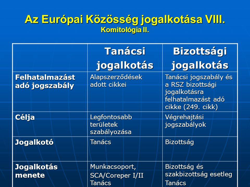 Az Európai Közösség jogalkotása VIII. Komitológia II. TanácsijogalkotásBizottságijogalkotás Felhatalmazást adó jogszabály Alapszerződések adott cikkei