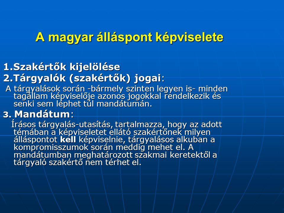 A magyar álláspont képviselete A magyar álláspont képviselete 1.Szakértők kijelölése 2.Tárgyalók (szakértők) jogai: A tárgyalások során -bármely szint