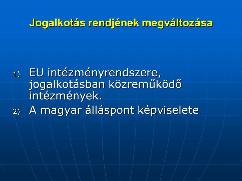 Jogalkotás rendjének megváltozása 1) EU intézményrendszere, jogalkotásban közreműködő intézmények. 2) A magyar álláspont képviselete