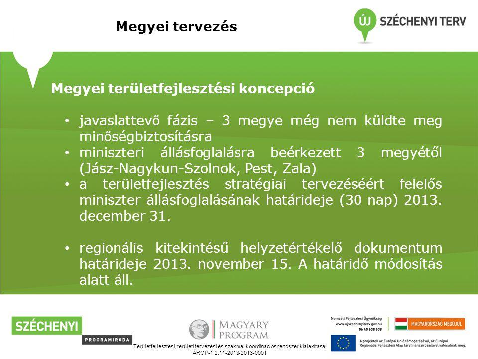 Területfejlesztési, területi tervezési és szakmai koordinációs rendszer kialakítása, ÁROP-1.2.11-2013-2013-0001 Megyei tervezés Megyei területfejlesztési koncepció javaslattev ő fázis – 3 megye még nem küldte meg min ő ségbiztosításra miniszteri állásfoglalásra beérkezett 3 megyétől (Jász-Nagykun-Szolnok, Pest, Zala) a területfejlesztés stratégiai tervezéséért felelős miniszter állásfoglalásának határideje (30 nap) 2013.