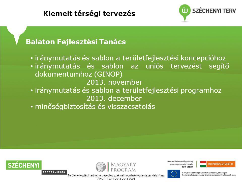 Területfejlesztési, területi tervezési és szakmai koordinációs rendszer kialakítása, ÁROP-1.2.11-2013-2013-0001 Kiemelt térségi tervezés Balaton Fejlesztési Tanács iránymutatás és sablon a területfejlesztési koncepcióhoz iránymutatás és sablon az uniós tervezést segítő dokumentumhoz (GINOP) 2013.