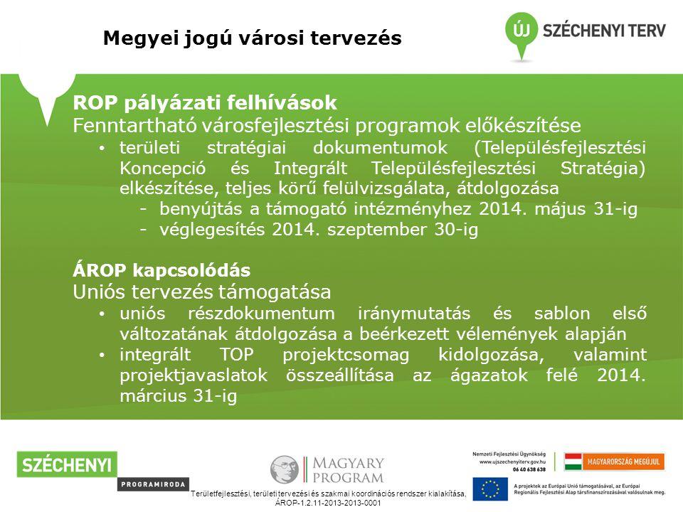 Területfejlesztési, területi tervezési és szakmai koordinációs rendszer kialakítása, ÁROP-1.2.11-2013-2013-0001 Megyei jogú városi tervezés ROP pályázati felhívások Fenntartható városfejlesztési programok előkészítése területi stratégiai dokumentumok (Településfejlesztési Koncepció és Integrált Településfejlesztési Stratégia) elkészítése, teljes körű felülvizsgálata, átdolgozása -benyújtás a támogató intézményhez 2014.