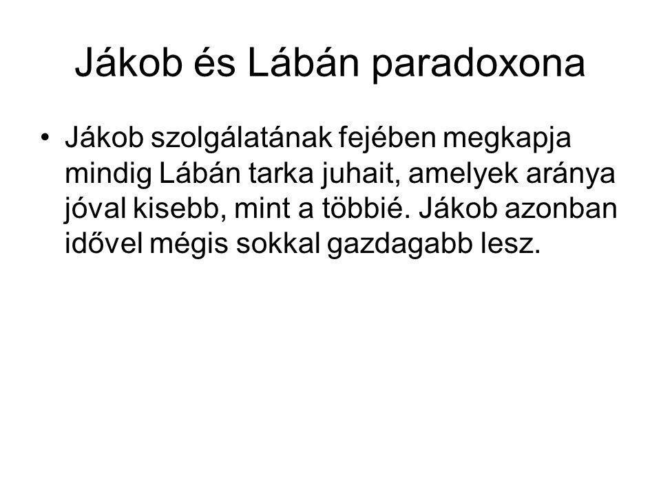 Jákob és Lábán paradoxona Jákob szolgálatának fejében megkapja mindig Lábán tarka juhait, amelyek aránya jóval kisebb, mint a többié.