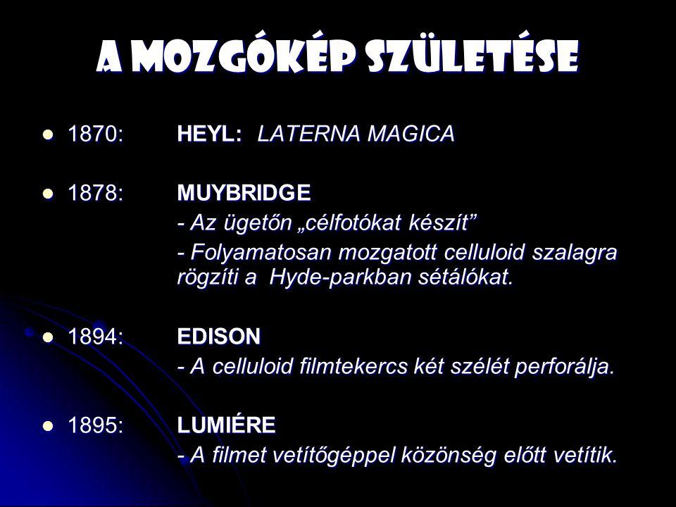 """A mozgókép születése 1870: HEYL: LATERNA MAGICA 1870: HEYL: LATERNA MAGICA 1878:MUYBRIDGE 1878:MUYBRIDGE - Az ügetőn """"célfotókat készít - Folyamatosan mozgatott celluloid szalagra rögzíti a Hyde-parkban sétálókat."""