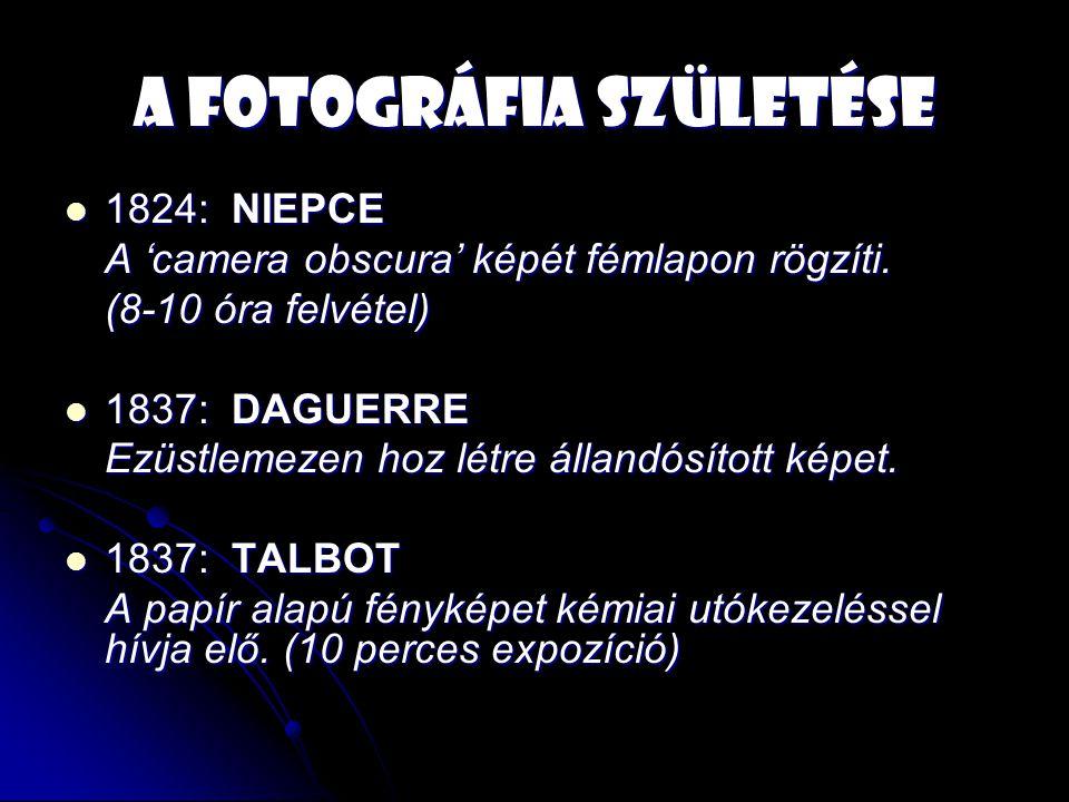 A fotográfia születése 1824: NIEPCE 1824: NIEPCE A 'camera obscura' képét fémlapon rögzíti.