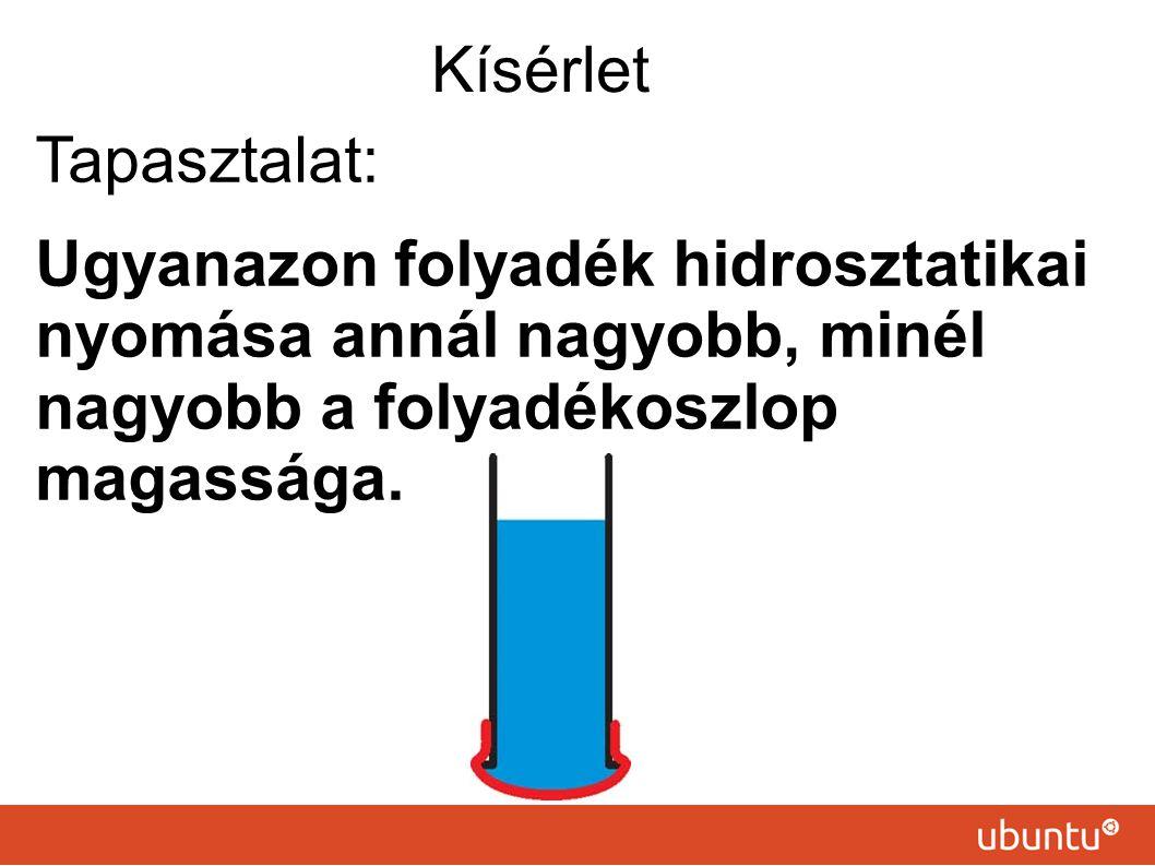 Tapasztalat: Ugyanazon folyadék hidrosztatikai nyomása annál nagyobb, minél nagyobb a folyadékoszlop magassága.