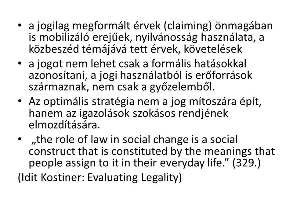 a jogilag megformált érvek (claiming) önmagában is mobilizáló erejűek, nyilvánosság használata, a közbeszéd témájává tett érvek, követelések a jogot n