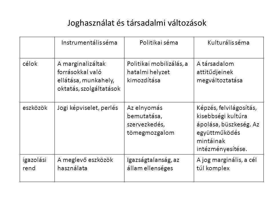 Joghasználat és társadalmi változások Instrumentális sémaPolitikai sémaKulturális séma célokA marginalizáltak forrásokkal való ellátása, munkahely, ok