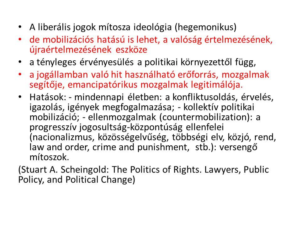 A liberális jogok mítosza ideológia (hegemonikus) de mobilizációs hatású is lehet, a valóság értelmezésének, újraértelmezésének eszköze a tényleges ér
