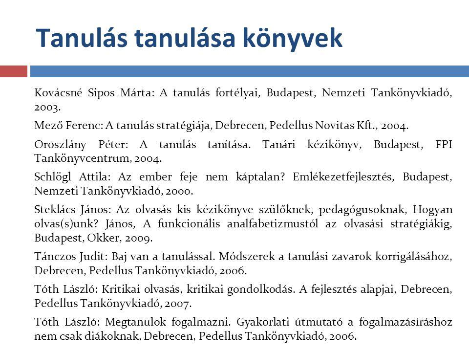 Tanulás tanulása könyvek Kovácsné Sipos Márta: A tanulás fortélyai, Budapest, Nemzeti Tankönyvkiadó, 2003. Mező Ferenc: A tanulás stratégiája, Debrece