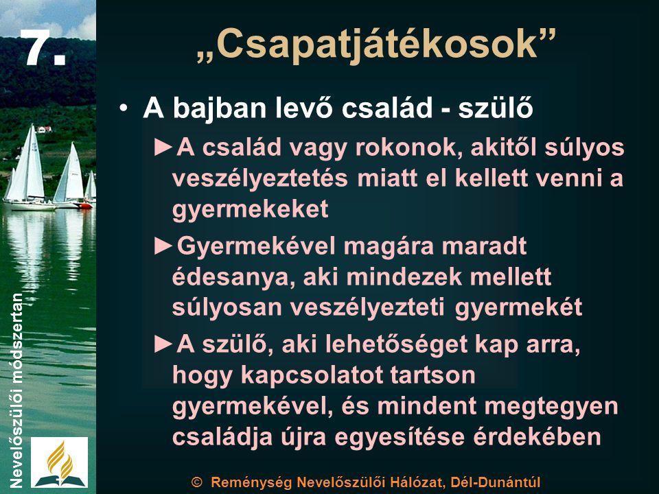 © Reménység Nevelőszülői Hálózat, Dél-Dunántúl Nevelőszülői módszertan Egymásra utaltságunk 7.