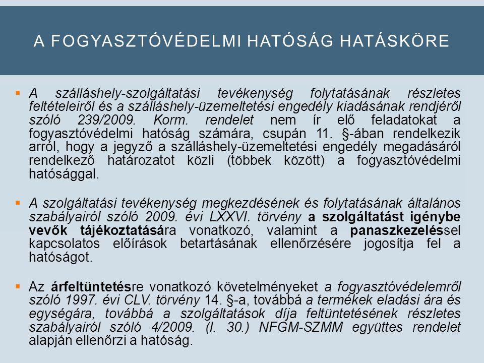 A FOGYASZTÓVÉDELMI HATÓSÁG HATÁSKÖRE  A szálláshely-szolgáltatási tevékenység folytatásának részletes feltételeiről és a szálláshely-üzemeltetési engedély kiadásának rendjéről szóló 239/2009.