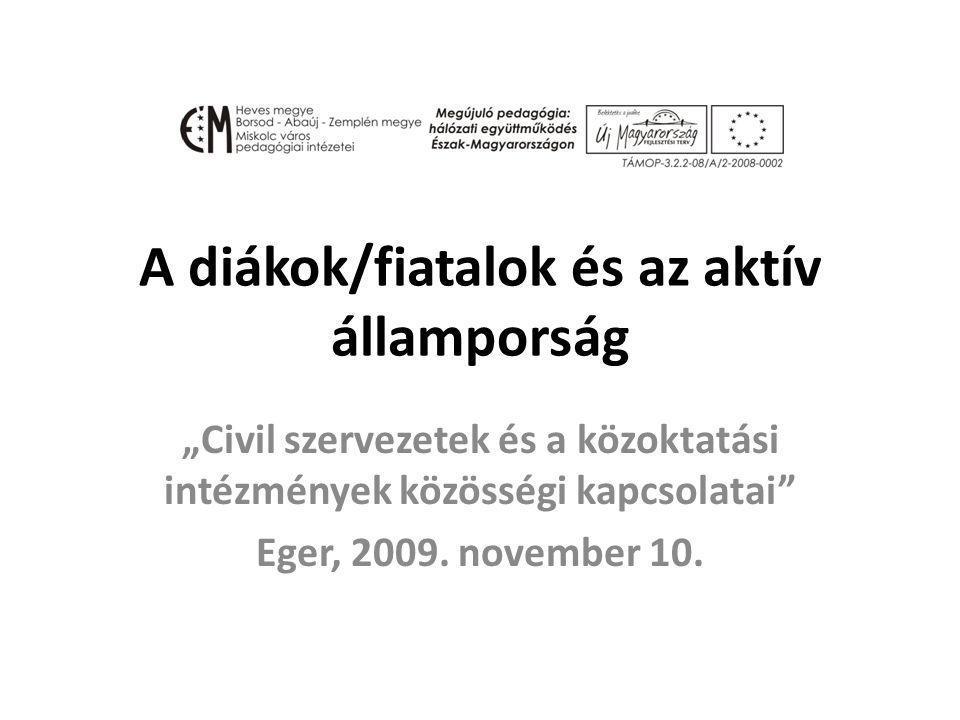 """A diákok/fiatalok és az aktív államporság """"Civil szervezetek és a közoktatási intézmények közösségi kapcsolatai Eger, 2009."""