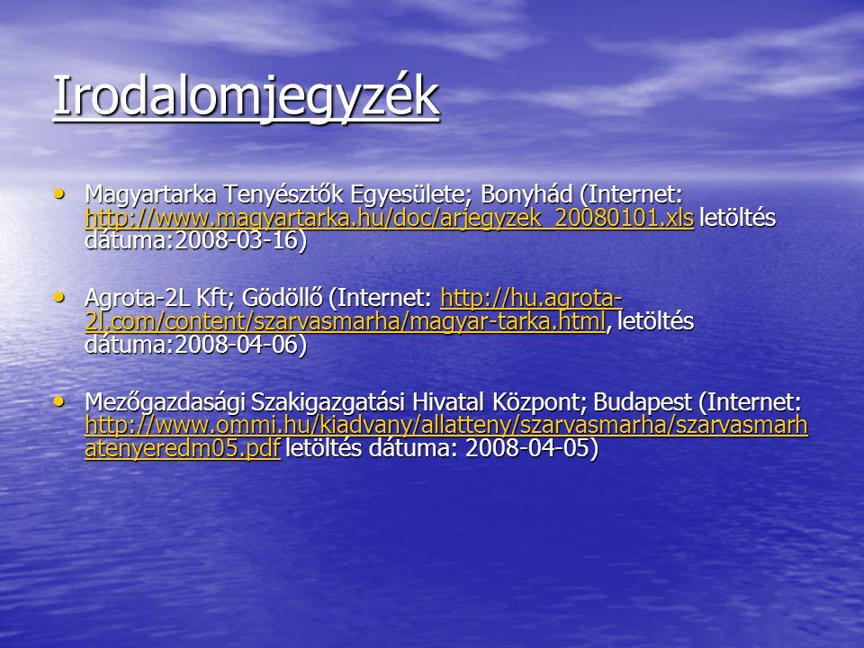 Irodalomjegyzék Magyartarka Tenyésztők Egyesülete; Bonyhád (Internet: http://www.magyartarka.hu/doc/arjegyzek_20080101.xls letöltés dátuma:2008-03-16)