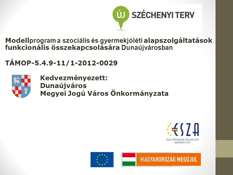 Modell program a szociális és gyermekjóléti alapszolgáltatások funkcionális összekapcsolására Dunaújvárosban TÁMOP-5.4.9-11/1-2012-0029 Kedvezményezet