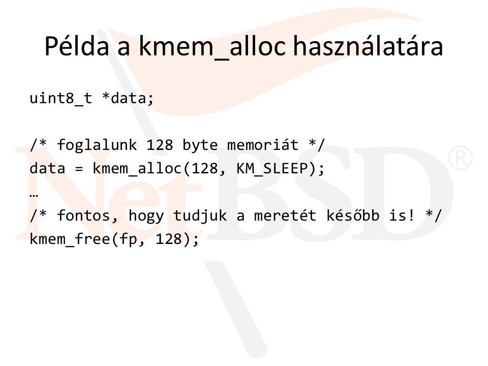 Példa a kmem_zalloc használatára /* egy structra van szükségünk */ struct foo *fp; /* lefoglaljuk a struct foo méretű memóriát */ fp = kmem_zalloc(sizeof(*fp), KM_SLEEP); … /* felszabadítjuk */ kmem_free(fp, sizeof(*fp));