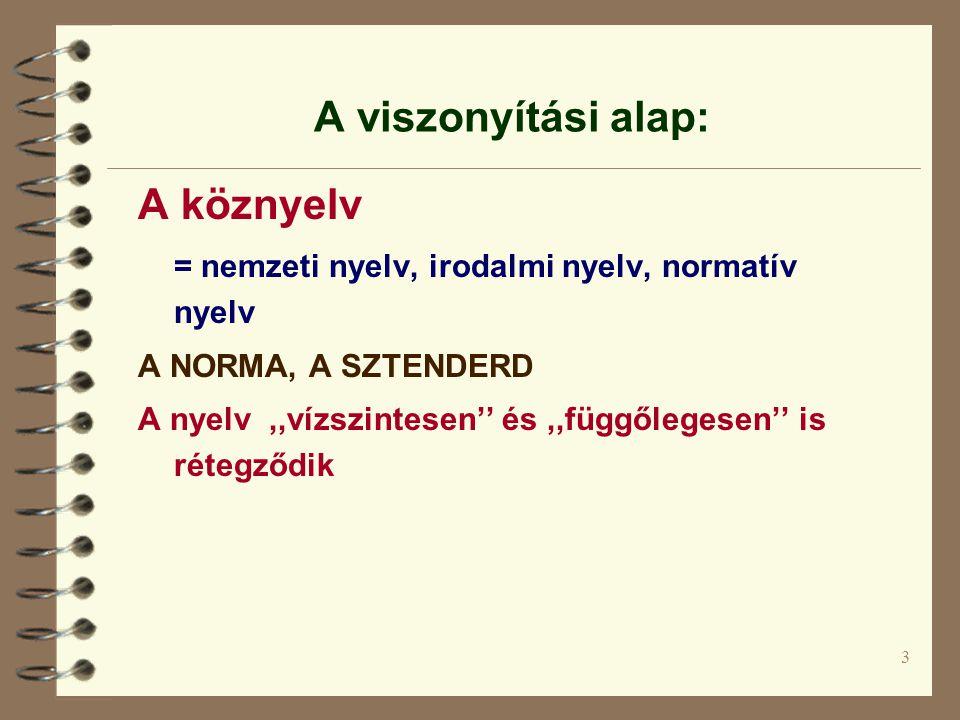 3 A viszonyítási alap: A köznyelv = nemzeti nyelv, irodalmi nyelv, normatív nyelv A NORMA, A SZTENDERD A nyelv,,vízszintesen'' és,,függőlegesen'' is r
