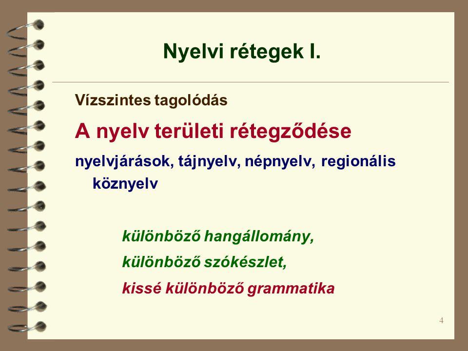 4 Nyelvi rétegek I. Vízszintes tagolódás A nyelv területi rétegződése nyelvjárások, tájnyelv, népnyelv, regionális köznyelv különböző hangállomány, kü