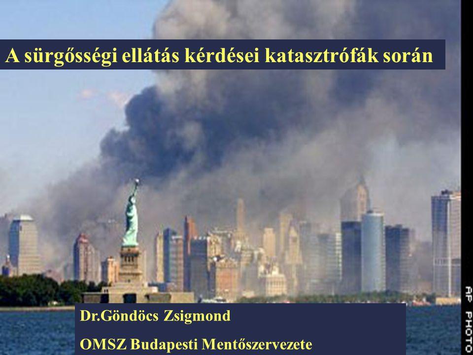 Göndöcs 2001.október 25 A sürgőségi ellátás kérdései katasztrófák során Dr.Göndöcs Zsigmond OMSZ Budapesti Mentőszervezete A sürgősségi ellátás kérdés