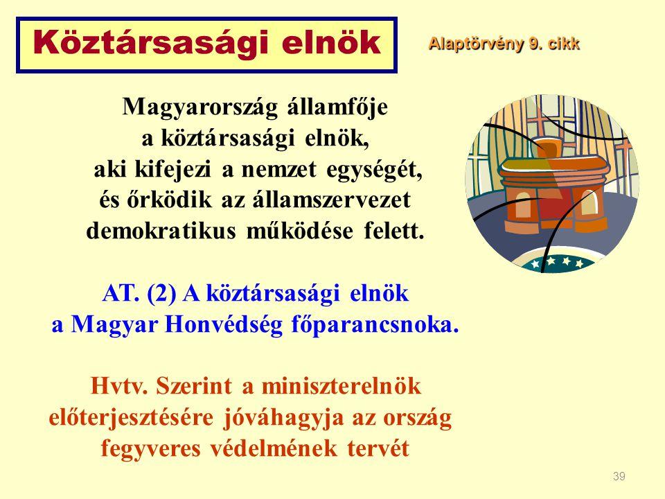 39 Köztársasági elnök Magyarország államfője a köztársasági elnök, aki kifejezi a nemzet egységét, és őrködik az államszervezet demokratikus működése