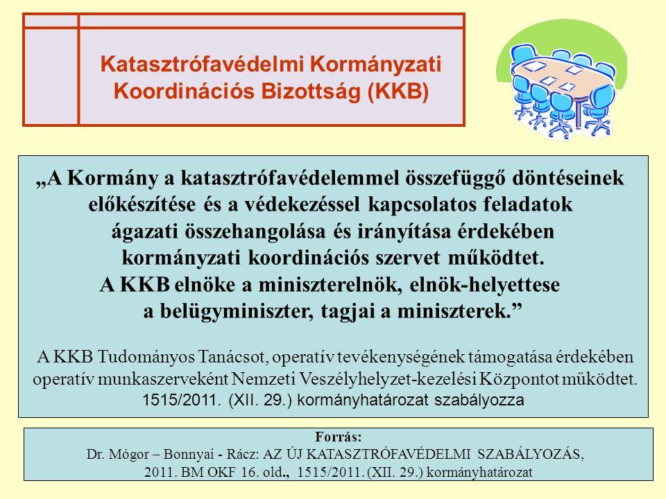 """Katasztrófavédelmi Kormányzati Koordinációs Bizottság (KKB) """"A Kormány a katasztrófavédelemmel összefüggő döntéseinek előkészítése és a védekezéssel k"""