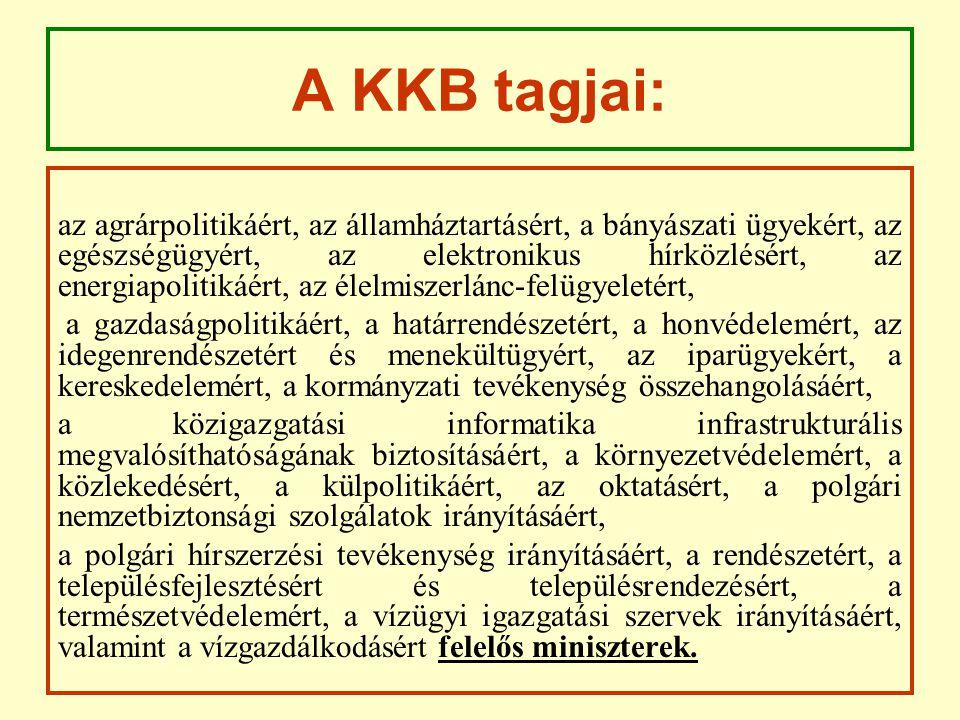 A KKB tagjai: az agrárpolitikáért, az államháztartásért, a bányászati ügyekért, az egészségügyért, az elektronikus hírközlésért, az energiapolitikáért