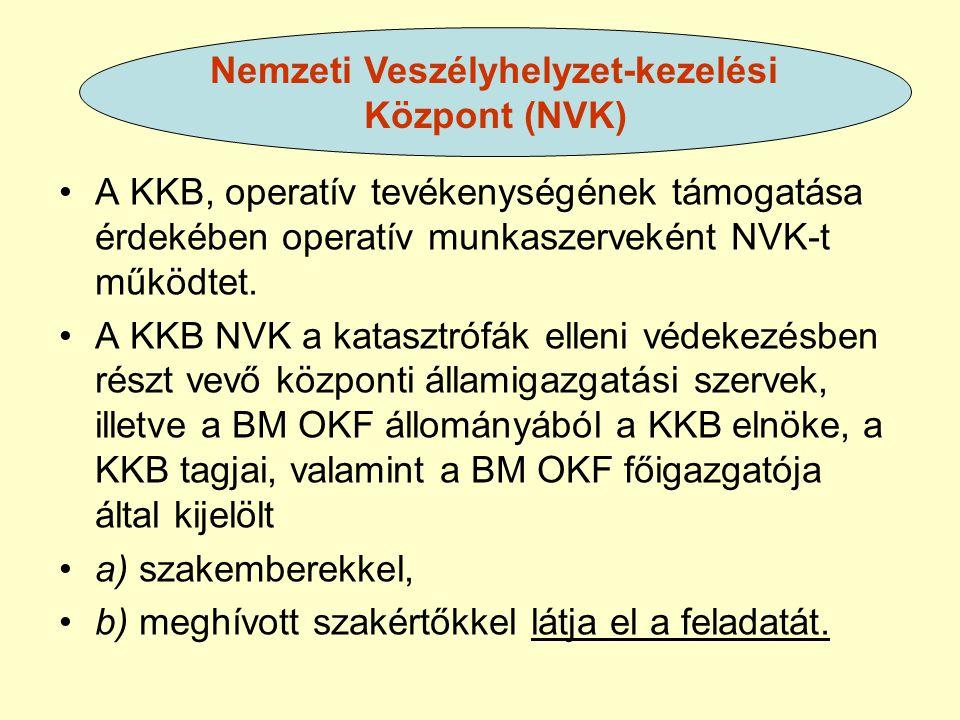 A KKB, operatív tevékenységének támogatása érdekében operatív munkaszerveként NVK-t működtet. A KKB NVK a katasztrófák elleni védekezésben részt vevő