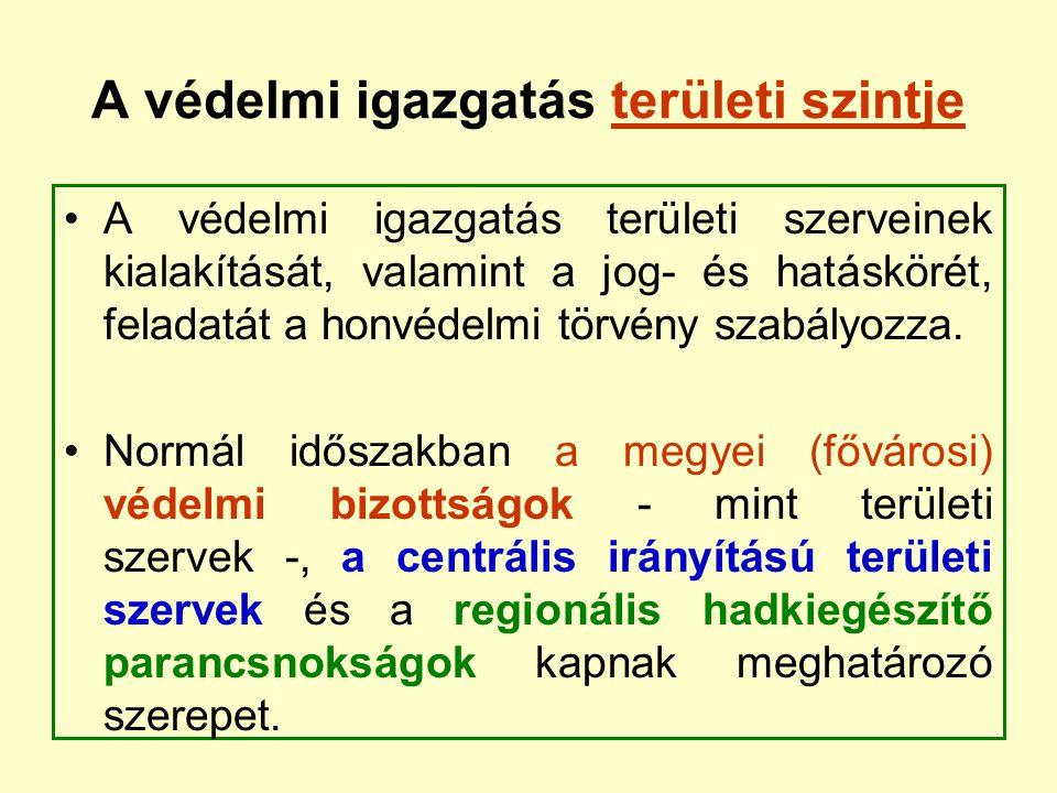 A védelmi igazgatás területi szintje A védelmi igazgatás területi szerveinek kialakítását, valamint a jog- és hatáskörét, feladatát a honvédelmi törvé