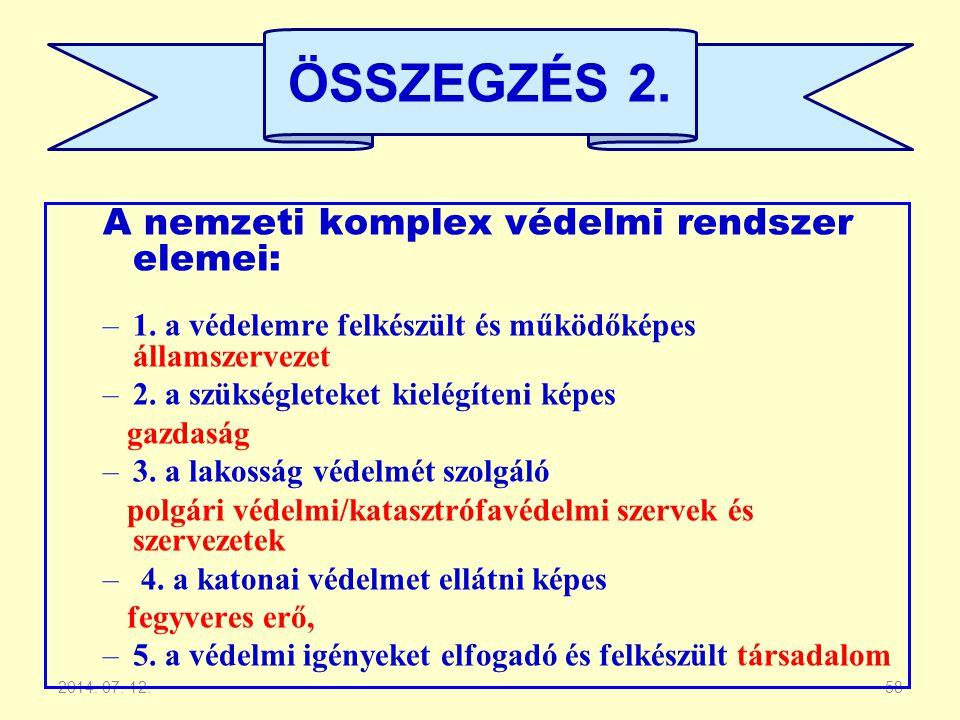 2014. 07. 12.58 A nemzeti komplex védelmi rendszer elemei: –1. a védelemre felkészült és működőképes államszervezet –2. a szükségleteket kielégíteni k