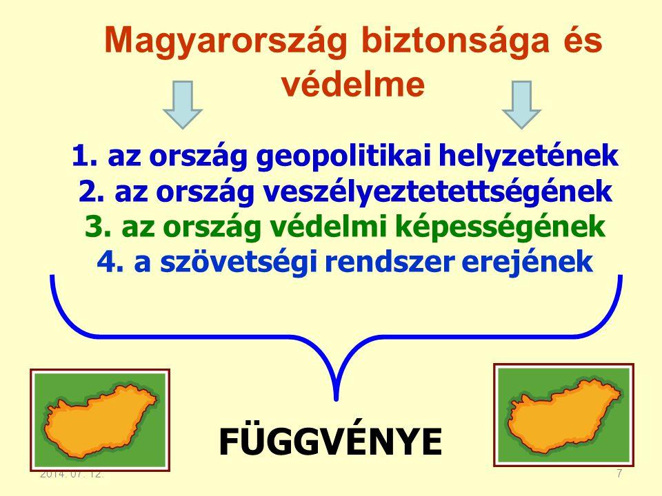 2014. 07. 12.7 Magyarország biztonsága és védelme 1.az ország geopolitikai helyzetének 2.az ország veszélyeztetettségének 3.az ország védelmi képesség