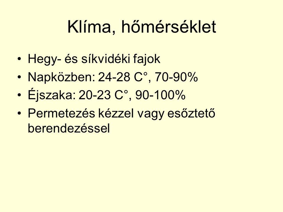 Klíma, hőmérséklet Hegy- és síkvidéki fajok Napközben: 24-28 C°, 70-90% Éjszaka: 20-23 C°, 90-100% Permetezés kézzel vagy esőztető berendezéssel
