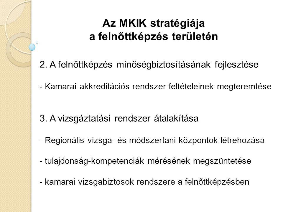 Az MKIK stratégiája a felnőttképzés területén 2. A felnőttképzés minőségbiztosításának fejlesztése - Kamarai akkreditációs rendszer feltételeinek megt