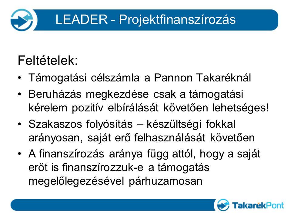 Feltételek: Támogatási célszámla a Pannon Takaréknál Beruházás megkezdése csak a támogatási kérelem pozitív elbírálását követően lehetséges! Szakaszos