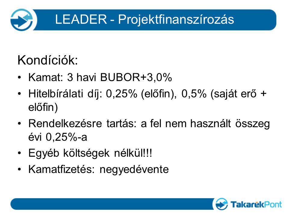 Kondíciók: Kamat: 3 havi BUBOR+3,0% Hitelbírálati díj: 0,25% (előfin), 0,5% (saját erő + előfin) Rendelkezésre tartás: a fel nem használt összeg évi 0,25%-a Egyéb költségek nélkül!!.
