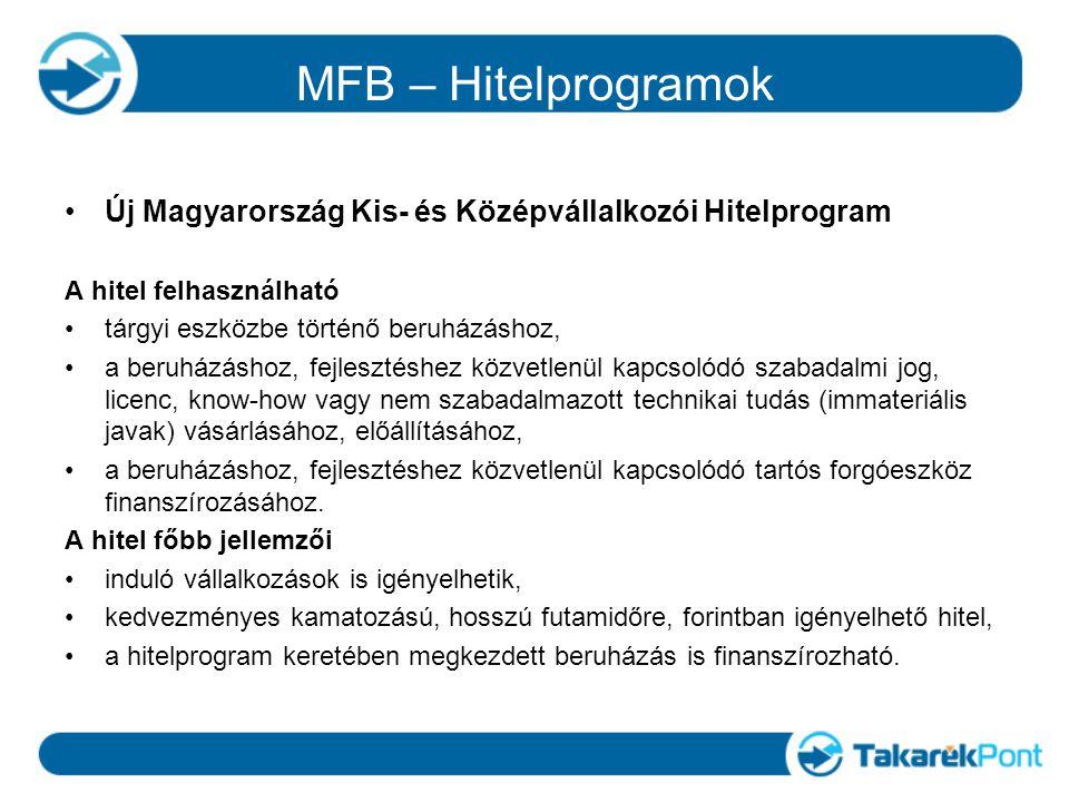 MFB – Hitelprogramok Új Magyarország Kis- és Középvállalkozói Hitelprogram A hitel felhasználható tárgyi eszközbe történő beruházáshoz, a beruházáshoz, fejlesztéshez közvetlenül kapcsolódó szabadalmi jog, licenc, know-how vagy nem szabadalmazott technikai tudás (immateriális javak) vásárlásához, előállításához, a beruházáshoz, fejlesztéshez közvetlenül kapcsolódó tartós forgóeszköz finanszírozásához.