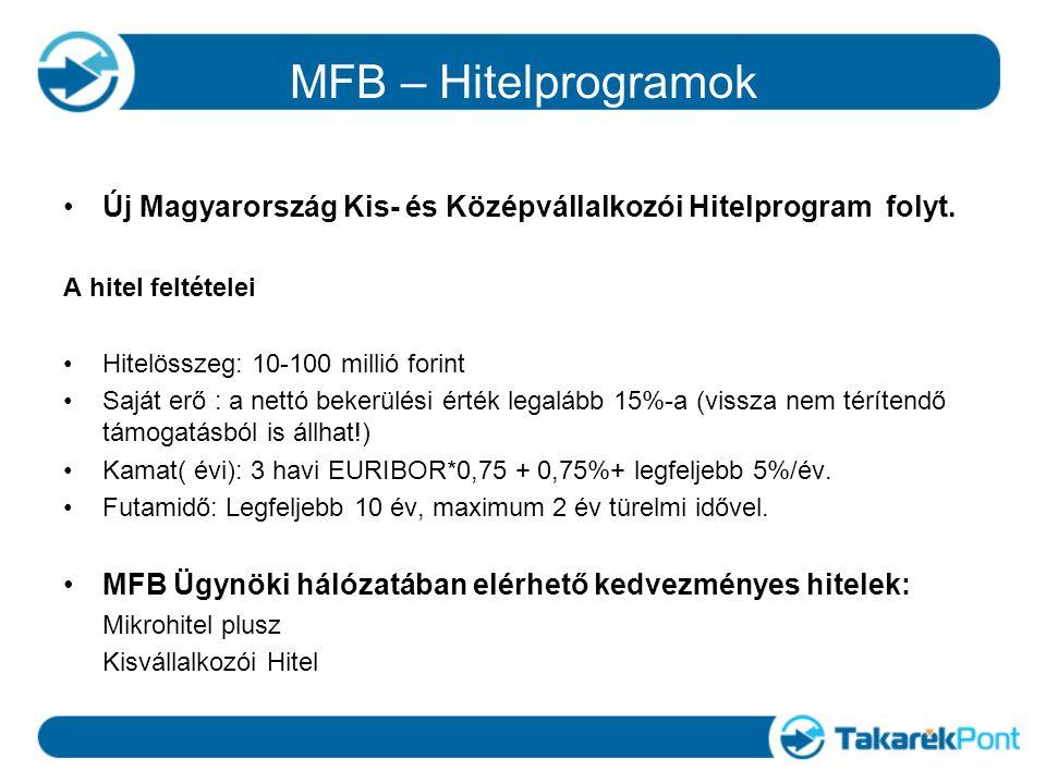 MFB – Hitelprogramok Új Magyarország Kis- és Középvállalkozói Hitelprogram folyt. A hitel feltételei Hitelösszeg: 10-100 millió forint Saját erő : a n