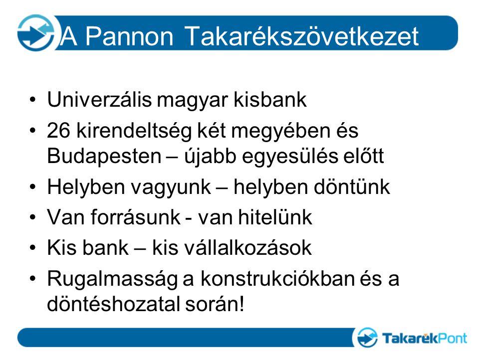 A Pannon Takarékszövetkezet Univerzális magyar kisbank 26 kirendeltség két megyében és Budapesten – újabb egyesülés előtt Helyben vagyunk – helyben döntünk Van forrásunk - van hitelünk Kis bank – kis vállalkozások Rugalmasság a konstrukciókban és a döntéshozatal során!