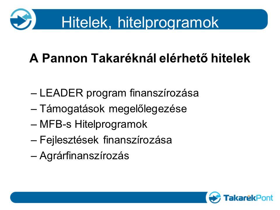 Hitelek, hitelprogramok A Pannon Takaréknál elérhető hitelek –LEADER program finanszírozása –Támogatások megelőlegezése –MFB-s Hitelprogramok –Fejlesztések finanszírozása –Agrárfinanszírozás