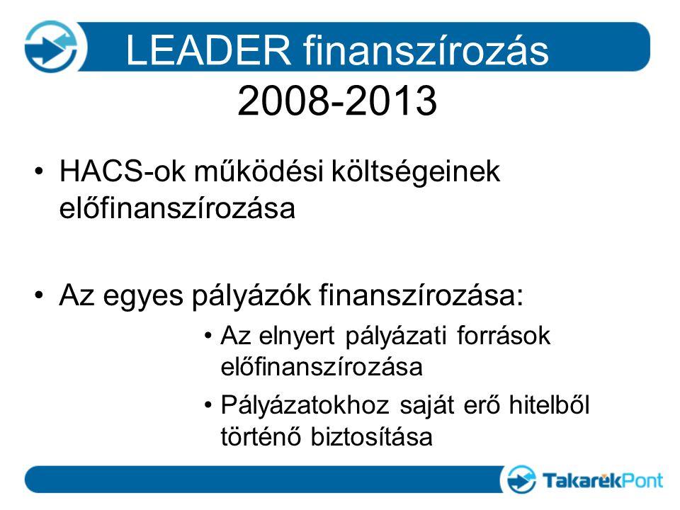LEADER finanszírozás 2008-2013 HACS-ok működési költségeinek előfinanszírozása Az egyes pályázók finanszírozása: Az elnyert pályázati források előfinanszírozása Pályázatokhoz saját erő hitelből történő biztosítása