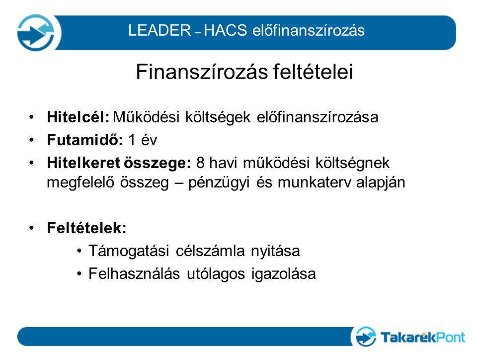 LEADER – HACS előfinanszírozás Finanszírozás feltételei Hitelcél: Működési költségek előfinanszírozása Futamidő: 1 év Hitelkeret összege: 8 havi működ