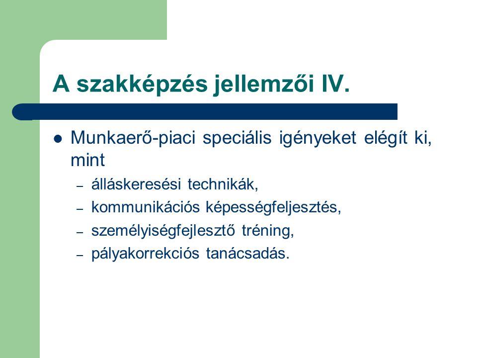 A szakképzés jellemzői IV.